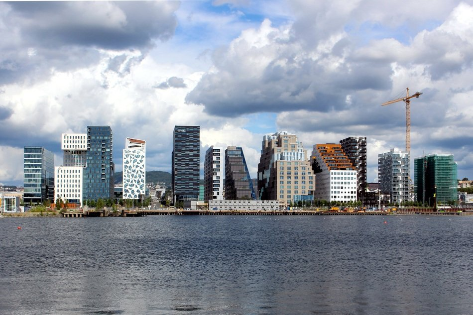distant view of modern skyscrapers in oslo