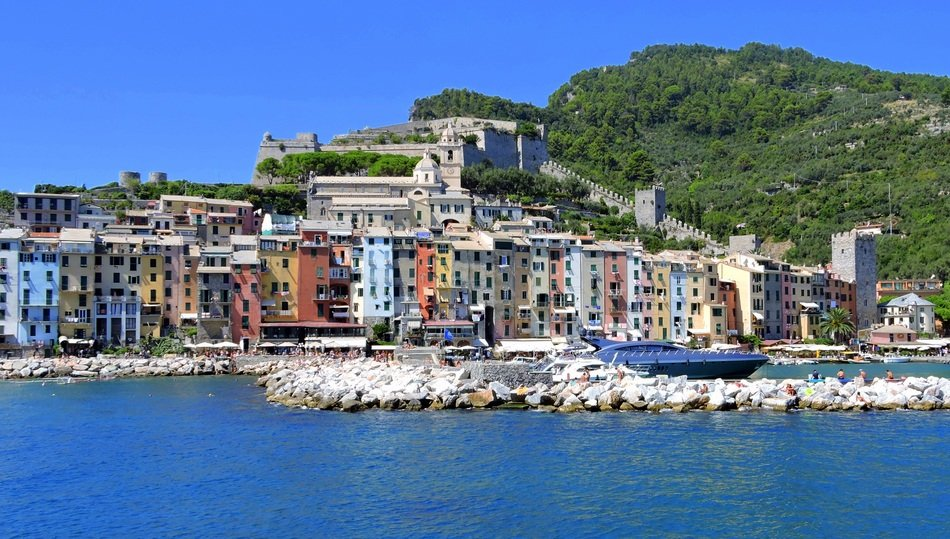 view from the sea on the landscape Porto Venere, Liguria, Italy