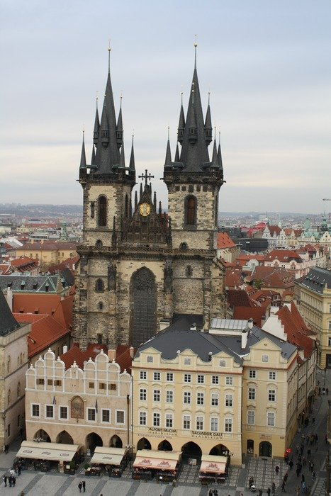 church with a spire in Prague