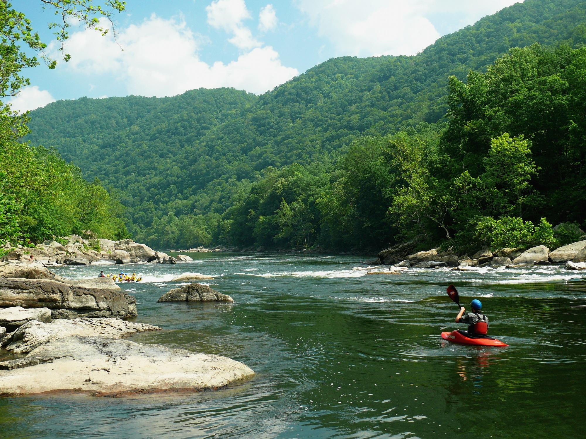 Kayaking sport on the river free image