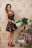 girl flowers spring mood pin up