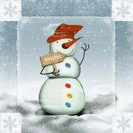 snow man winter cold wintry