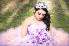 the girl in the purple wedding dress