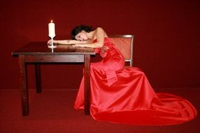 girl dress red lady in table