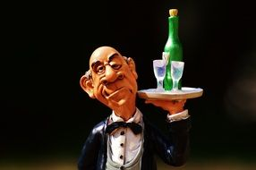 funny butler with wine