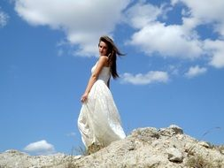 beauty angel girl white color dress cloud white sky