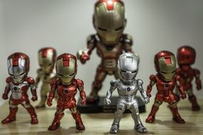 Red and golden toys figures of iron man