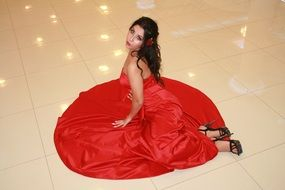 sensual girl in a red dress