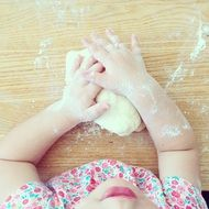 child kitchen flour hand table