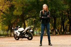 girl motorcycle leather jacket ride