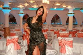 girl, dress, black, restaurant,fat,dance,