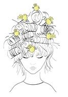cartoon birds fly in waved girl hair
