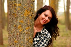 girl portrait brunette beauty tree