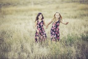 sisters on the summer meadow