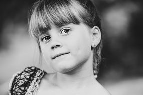 Black and white image of a girl