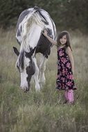 child girl fun cute horse animal summer