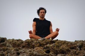 Man in meditation position