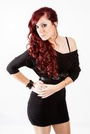 model pose black dress long red hair style look
