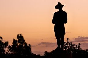 standing man in hat silhouette at evening sky