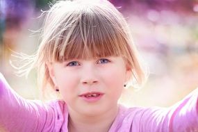 portrait of child girl face blond hair