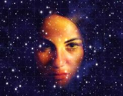 woman's face in the starry sky