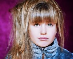 cute child girl face view blond hair