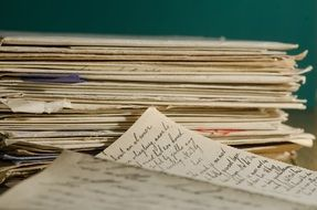 many handwritten letters