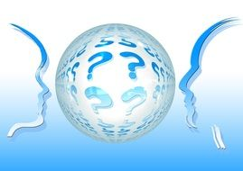 profiles of people near the ball with question marks