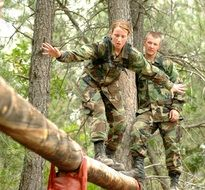 military soldiers are overcoming obstacles