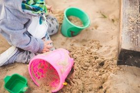 sandpit with buckets