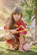 child in the indian costume