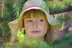 portrait of child girl hat face