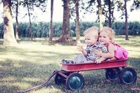 happy kids in the cart