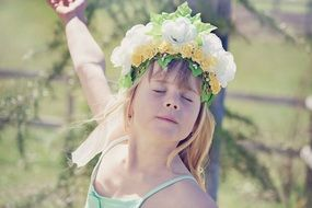 Girl closed eyes flower face