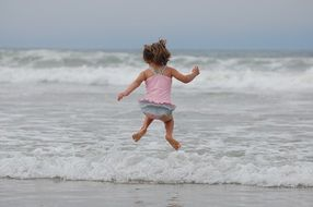 Photo of girl is jumping on a beach