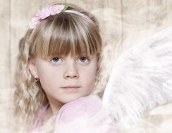 portrait of a girl with angel wings