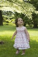 little girl in spring dress in a green garden