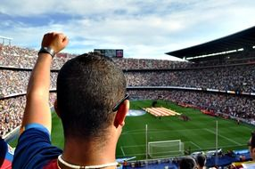 many fans in a stadium in Barcelona