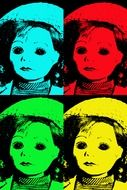 collage of multi-colored image dolls