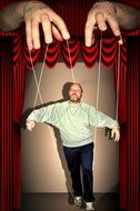 puppet in a puppet theater