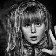 child girl face long hair view monochrome