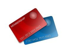 blue and red membership cards