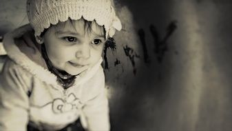 black white photo of a little girl