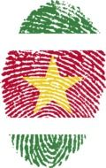 suriname flag painted on the fingerprint