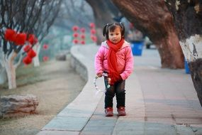 chinese girl in a park