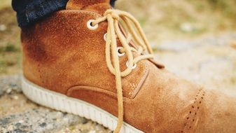 Close up photo of suede shoe