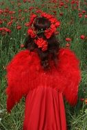 Girl is standing on the poppy field