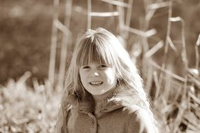 child girl long blond hair nature monochrome photo