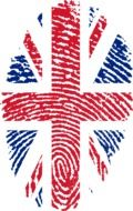 Clipart of United kingdom flag in a shape of the fingerprint