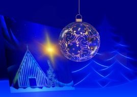 Christmas ball on a background of a ornament with a picture christmas tree